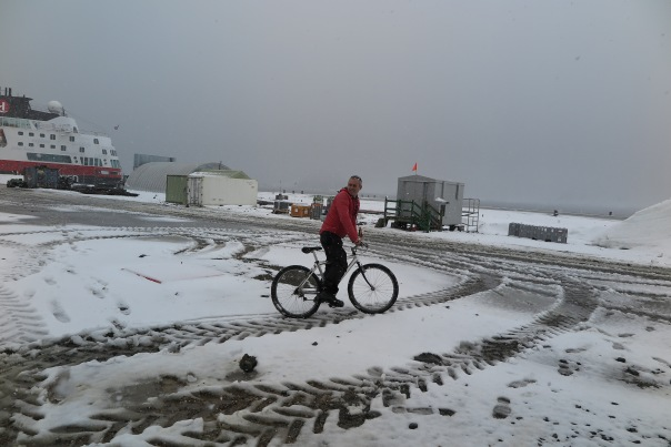 John cycling in Antarctica